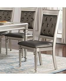 Benzara Rubber Wood Dining Chair with Diamond Tufted Back, Set of 2