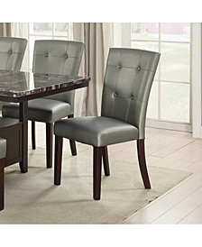 Benzara Button Tufted Faux Leather Wooden Dining Chair, Set of 2