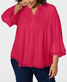 d09d65ba9c4 Charter Club Plus Size Double-Ruffle Textured Pintuck Top