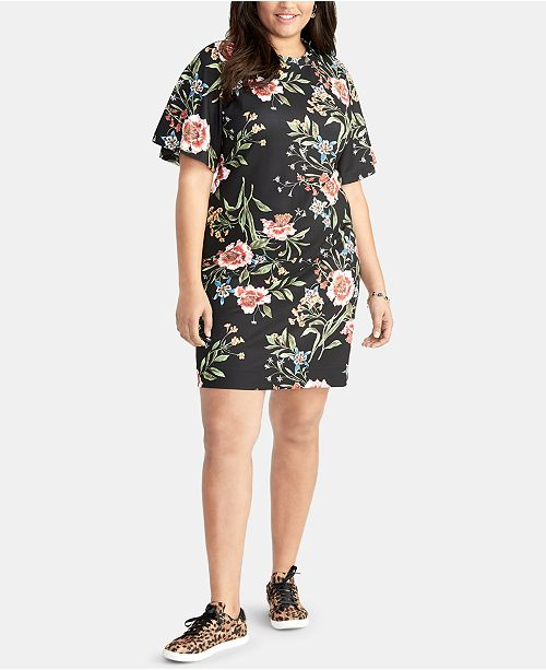 ee670d6aaad90 RACHEL Rachel Roy Trendy Plus Size Floral-Print Short Sheath Dress ...
