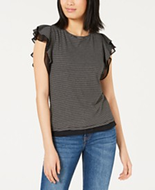 Maison Jules Mesh-Trim Ruffled-Sleeve Top, Created for Macy's