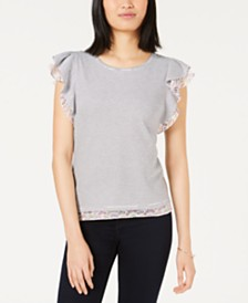 Maison Jules Flutter-Sleeve Top, Created for Macy's