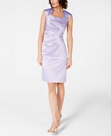 Tahari ASL Satin Starburst Sheath Dress