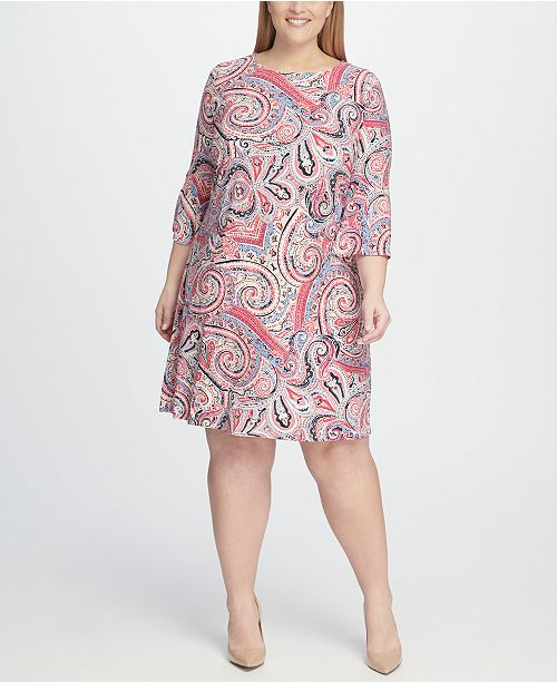 1cfc74ab Tommy Hilfiger Plus Size Paisley A-line Bell Sleeve Dress & Reviews ...