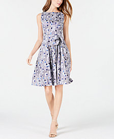 Anne Klein Circle-Print Belted A-Line Dress