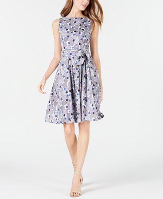 Anne Klein Circle-Print Belted A-Line Dress