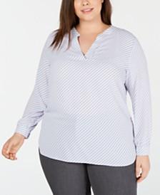 Anne Klein Plus Size Piazza-Stripe Split-Neck Top