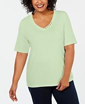 f490ca00d Karen Scott Plus Size Cotton V-Neck Top, Created for Macy's