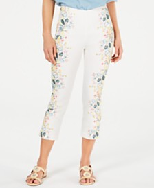 Charter Club Floral-Print Pull-On Pants, Created for Macy's