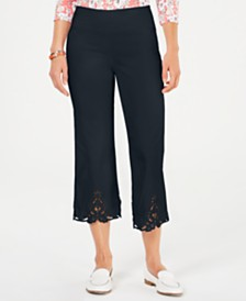 Charter Club Petite Crochet-Trim Capri Pants, Created for Macy's