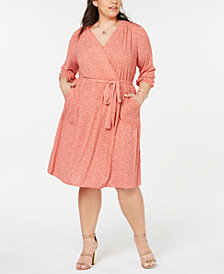 Monteau Trendy Plus Size Printed Fit & Flare Dress