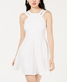 B Darlin Juniors' Double-Strap Fit & Flare Dress, Created for Macy's