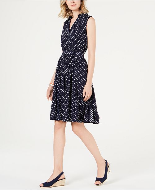 Charter Club Petite Belted Polka-Dot Dress, Created for Macy's