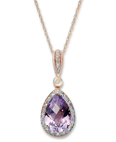 Amethyst (2-3/4 ct. t.w.) and Diamond Accent Pear Pendant Necklace in 14k Rose Gold