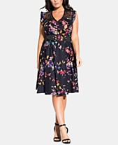 05f043b214 City Chic Plus Size Printed A-Line Dress