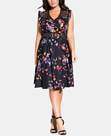 City Chic Plus Size Printed A-Line Dress