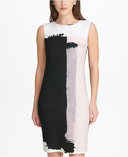 e352698f3b6 DKNY Sleeveless Printed Sheath Dress