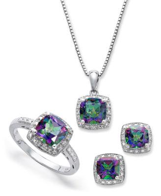 Mystic topaz wedding ring sets