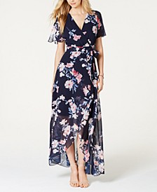 Floral-Print Faux-Wrap Maxi Dress