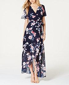 Jessica Howard Floral-Print Faux-Wrap Maxi Dress