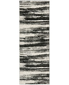 "Retro Dark Grey and Light Grey 2'3"" x 11' Runner Area Rug"
