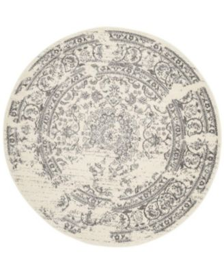 Adirondack Ivory and Silver 4' x 4' Round Area Rug