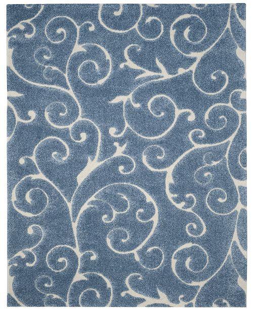 Safavieh Shag Light Blue and Cream 8' x 10' Area Rug