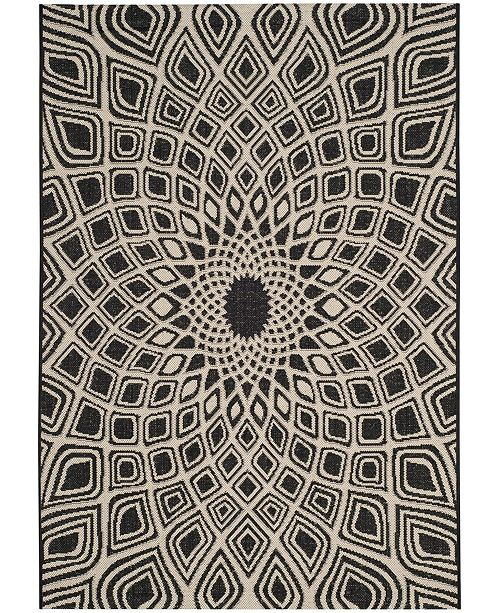 "Safavieh Courtyard Black and Beige 6'7"" x 9'2"" Sisal Weave Area Rug"