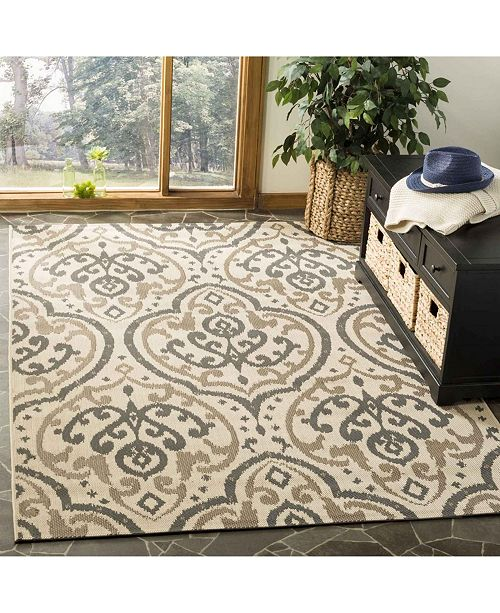 """Martha Stewart Collection Beige and Anthracite 6'7"""" x 9'6"""" Area Rug, Created for Macy's"""