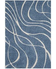 Safavieh Shag Light Blue and Cream 6' x 9' Area Rug