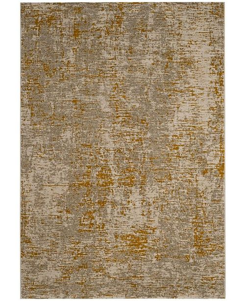 "Safavieh Porcello Gray and Yellow 6'7"" x 6'7"" Square Area Rug"