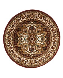 """Summit Red and Ivory 6'7"""" x 6'7"""" Round Area Rug"""