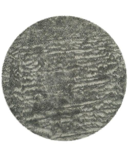 Safavieh Faux Sheep Skin Gray 3' X 3' Round Area Rug