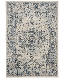 """Charleston Ivory and Navy 6'7"""" x 6'7"""" Square Area Rug"""