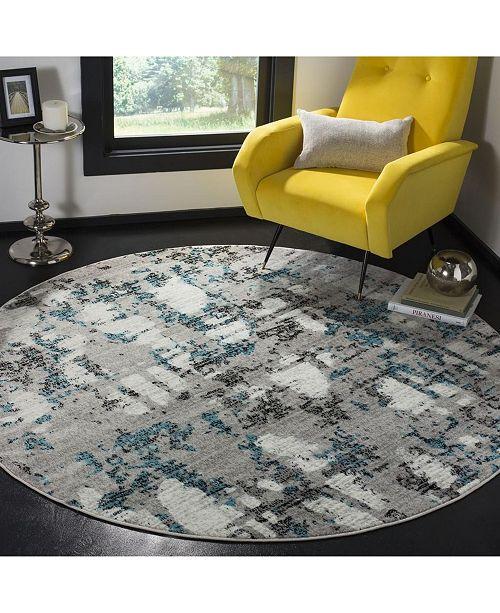Safavieh Skyler Gray and Blue 4' x 4' Round Area Rug
