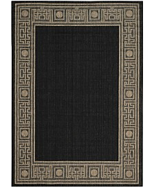 "Safavieh Courtyard Black and Coffee 6'7"" x 6'7"" Sisal Weave Square Area Rug"