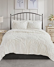 Viola King/Cal King 3 Piece Cotton Chenille Damask Coverlet Set