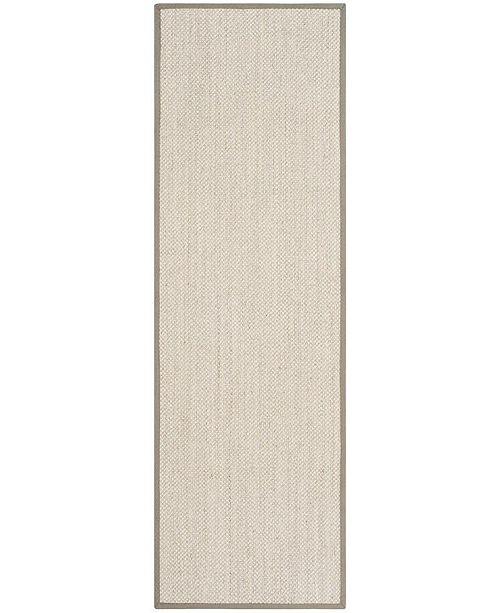 "Safavieh Natural Fiber Marble and Khaki 2'6"" x 10' Sisal Weave Runner Area Rug"