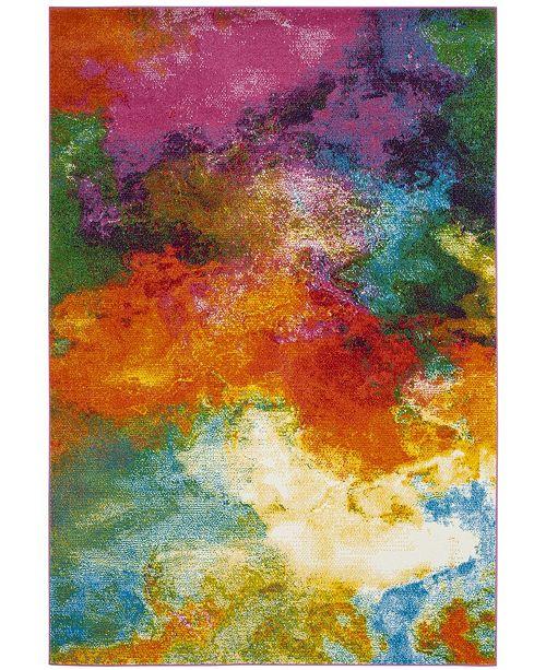 "Safavieh Watercolor Orange and Green 6'7"" x 9' Area Rug"
