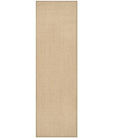 "Natural Fiber Maize and Linen 2'6"" x 18' Sisal Weave Runner Rug"