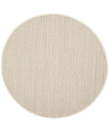 Natural Fiber Marble and Beige 9' x 9' Sisal Weave Round Area Rug