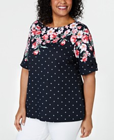 Karen Scott Plus Size Mixed-Print Top, Created for Macy's