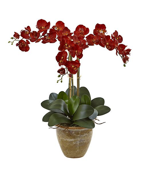 Nearly Natural Triple Stem Phalaenopsis Silk Arrangement, Seasonal