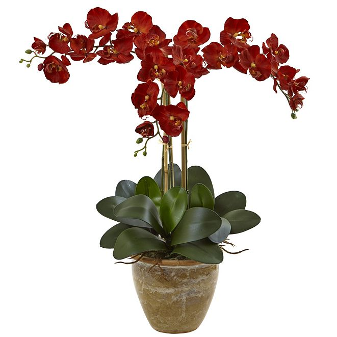 Nearly Natural Triple Stem Phalaenopsis Silk Arrangement, Seasonal