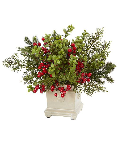 Nearly Natural Holiday Berry and Pine Artificial Arrangement