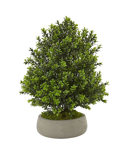 Nearly Natural Boxwood Artificial Plant in Stone Planter