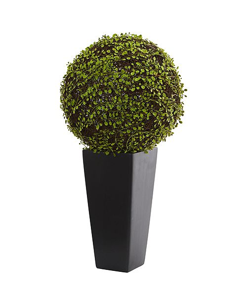 Nearly Natural Mohlenbechia Ball Artificial Plant in Black Tower Vase