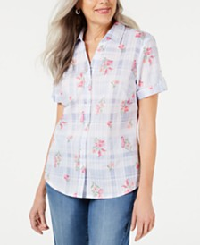 Karen Scott Petite Floral-Detail Plaid Shirt, Created for Macy's