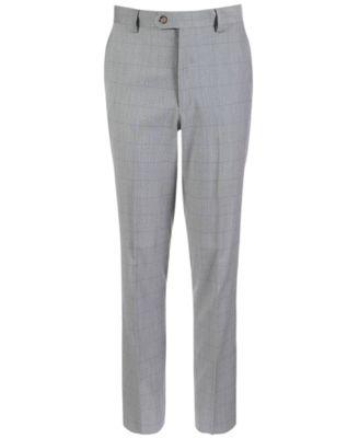 Big Boys Classic-Fit Stretch Windowpane Suit Pants