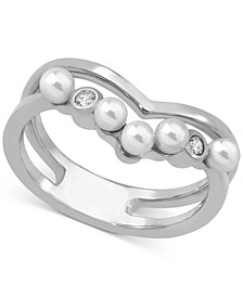 Sterling Silver Crystal & Imitation Pearl Double-Row Ring
